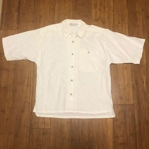 Columbia off white short sleeve button down Large